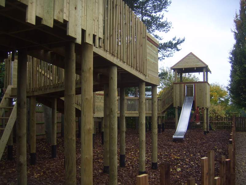 Treetops tree house with slide