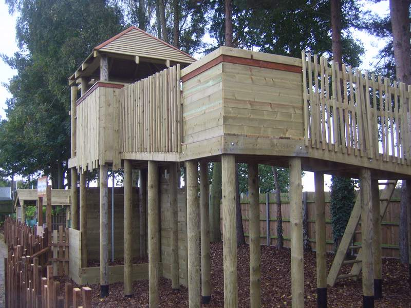 Treetops tree house with firemans's pole