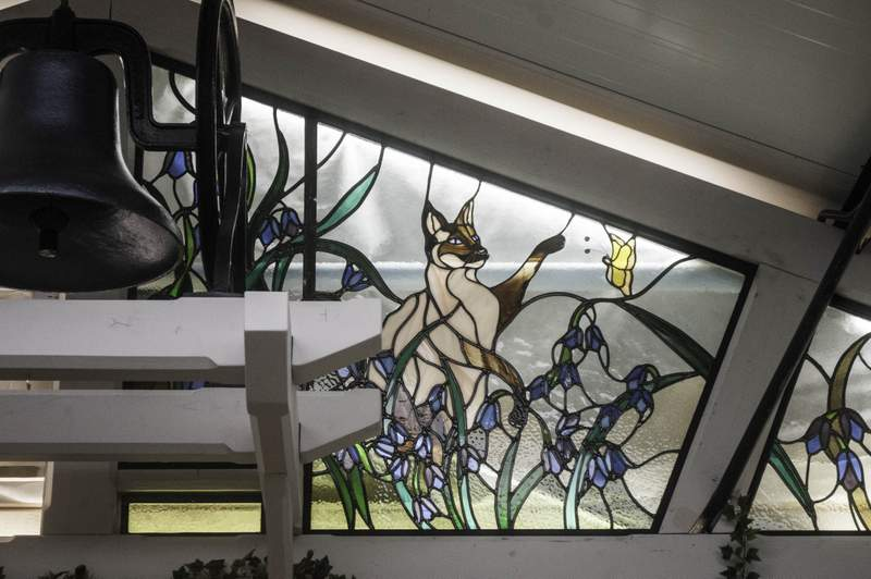 Close up of the beautiful stained glass entrance to Bluebell Square Indoor Shopping Centre