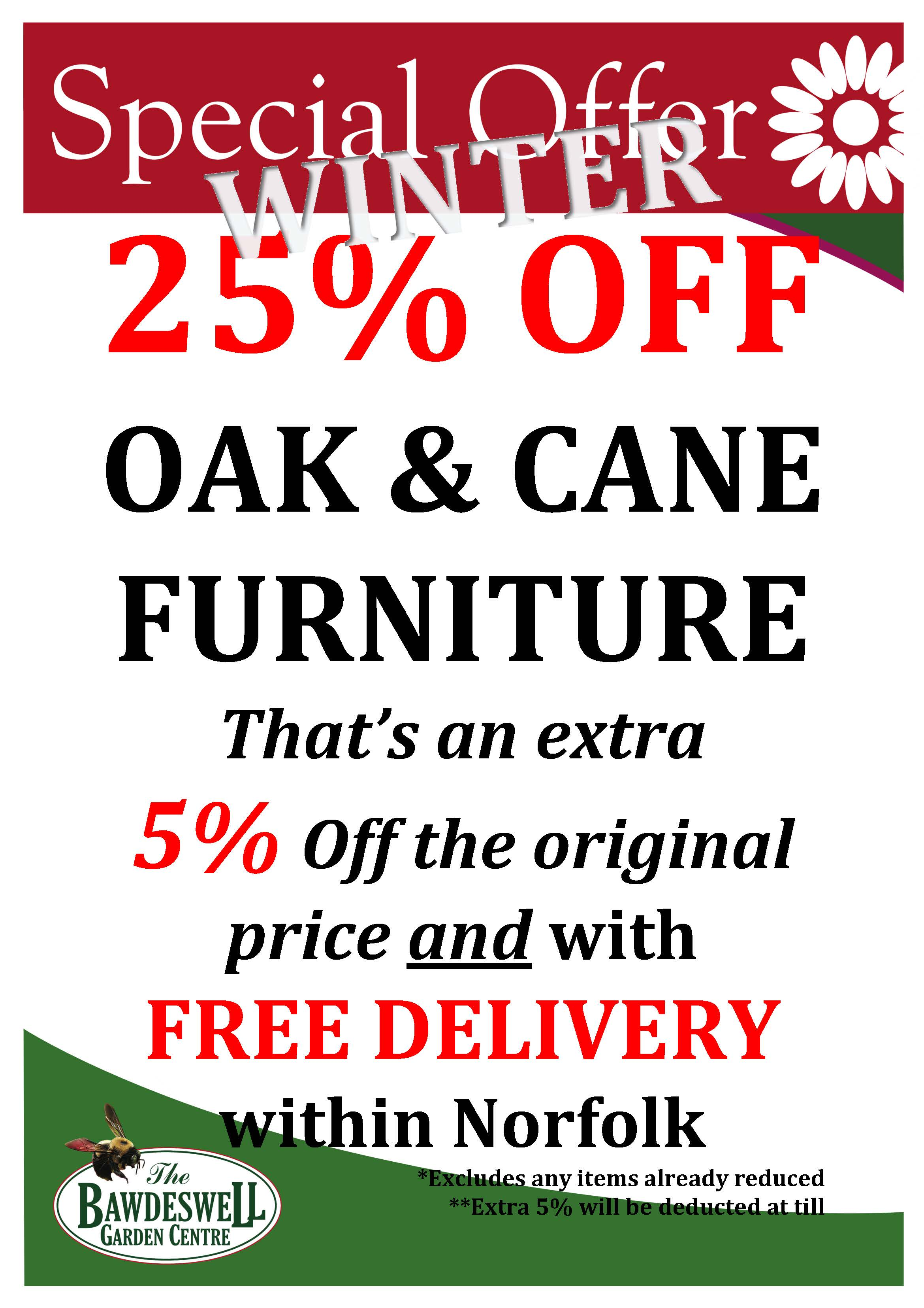 Extra 5% Off Oak Furniture in our Winter Sale - that's a whopping 25% off the original price!