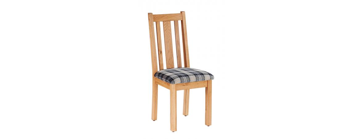 Oak Vertical Slats Dining Chair with Granite Tartan Fabric Seat NB043FG