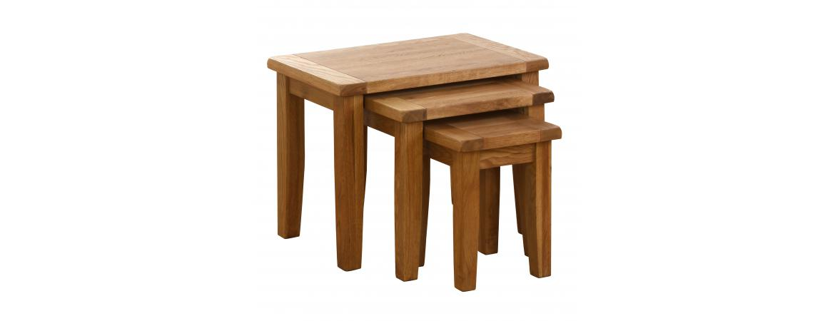 Oak Nest of 3 Tables NB012