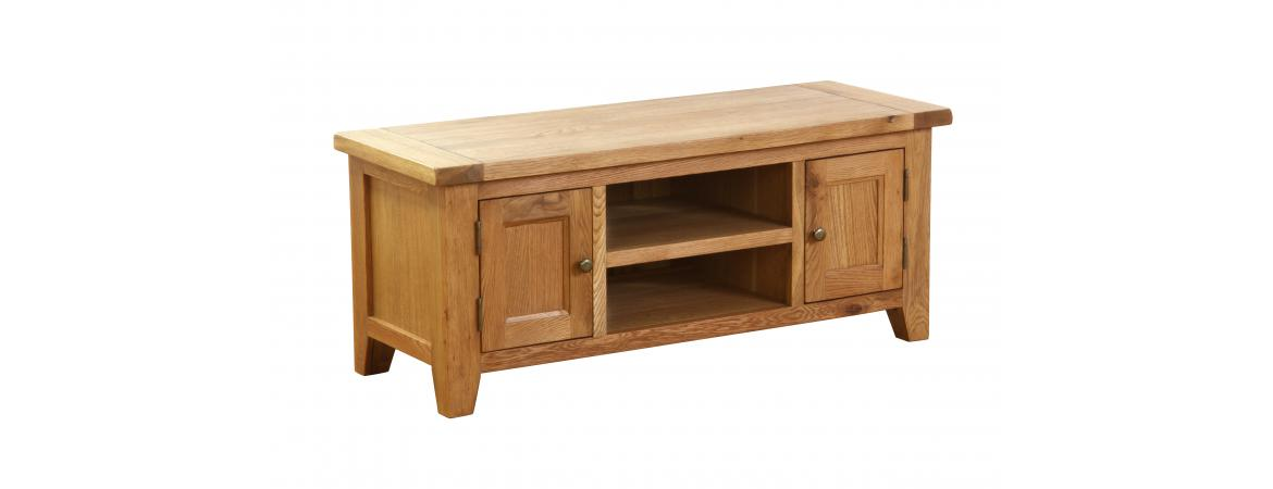 Oak 2 Door 1 Shelf TV Unit NB013