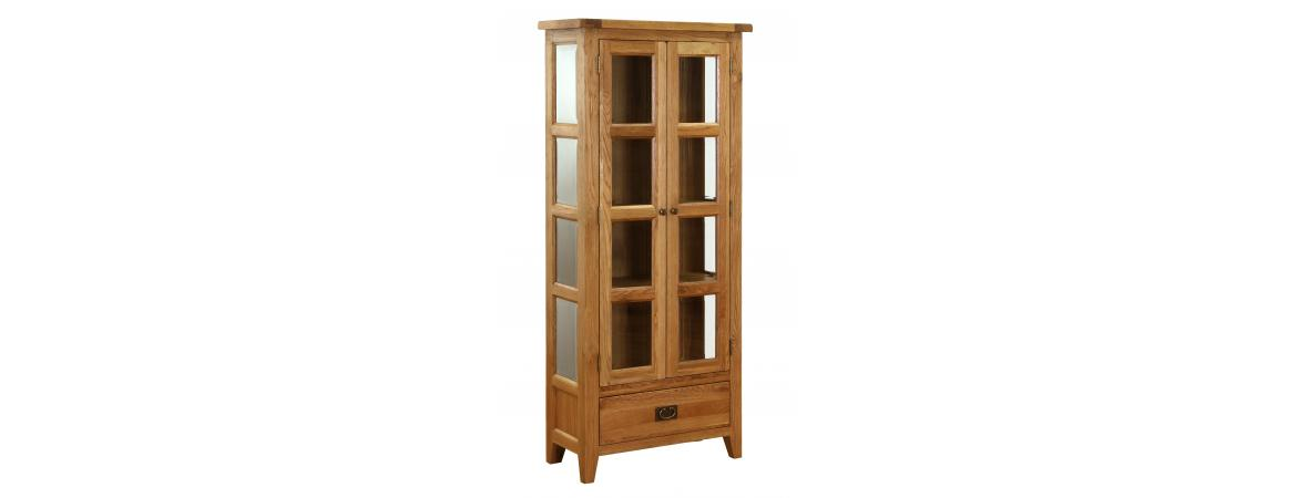 Oak 1 Drawer 2 Door Glazed Display Cabinet NB032 - Currently out of stock - awaiting new stock