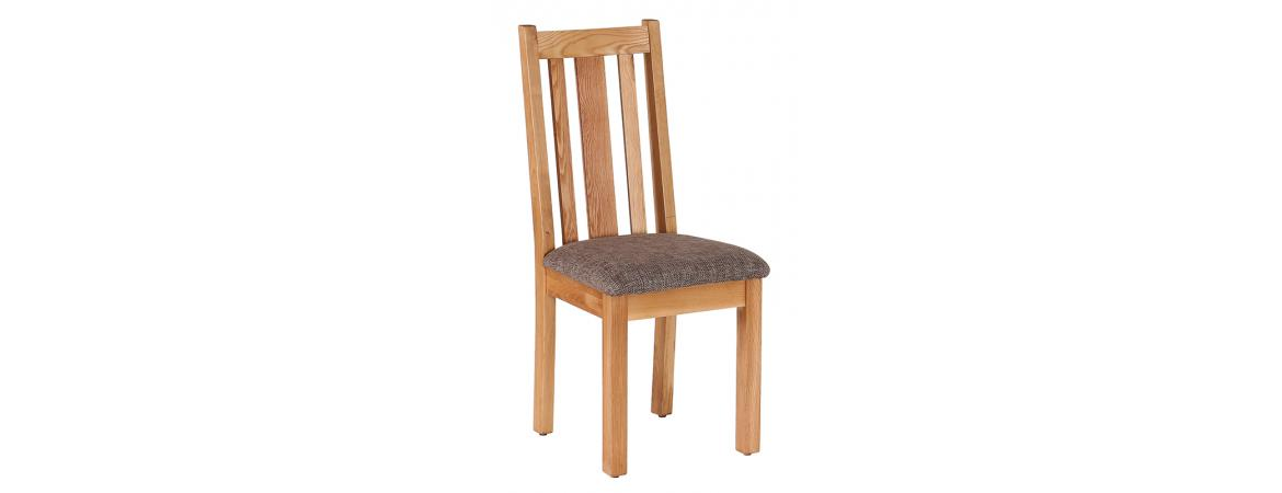 Oak Vertical Slats Dining Chair with Mocha Fabric Seat NB043F6