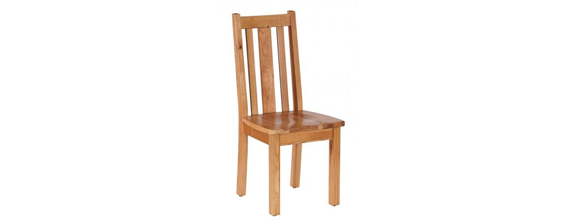 Oak Vertical Slats Dining Chair with Timber Seat NB044