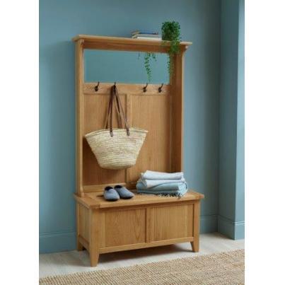 Hall Tidy Storage Bench with Coat Rack & Mirror NB075