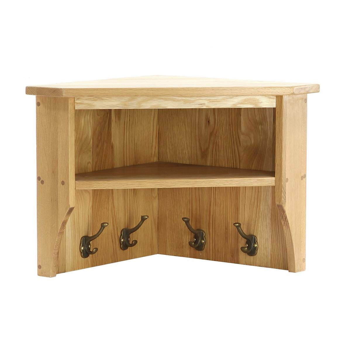 Oak Small Corner Wall Shelf NB090